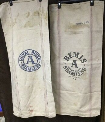 2 pk Bemis A Royal River Heavy Seamless Advertising Feed Sack Bag Farm Decor