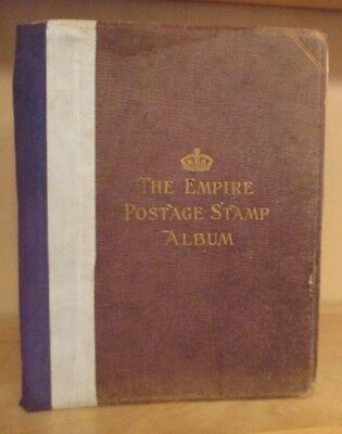 1930s OLD EMPIRE POSTAGE STAMP ALBUM BEARING WELL FILLED  VINTAGE COLLECTION