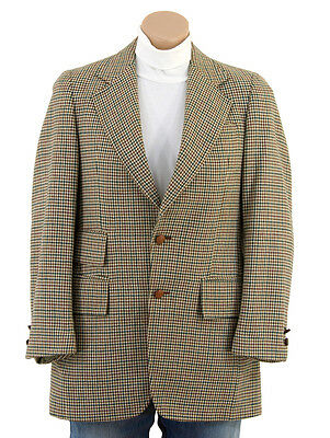Vintage 60s HOUNDSTOOTH PLAID Wool Sportscoat Blazer Hipster Mod Suit Jacket 36