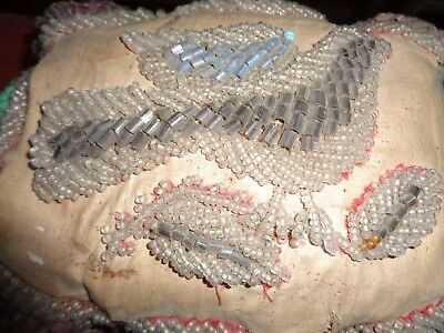 EARLY beaded pin cushion...large with BIRD   Primitive