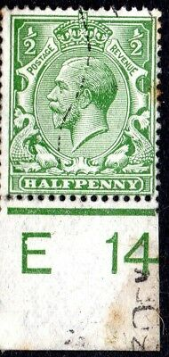 1912-24 SG 351 ½d green Control E 14 Royal Cypher Used
