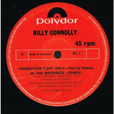 "BILLY CONNOLLY In The Brownies 12"" VINYL Promo 2 Track Remix B/w Woke Up This"