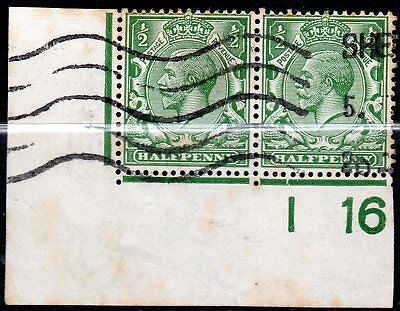 1912-24 SG 351 ½d green Control I 16 Royal Cypher Used
