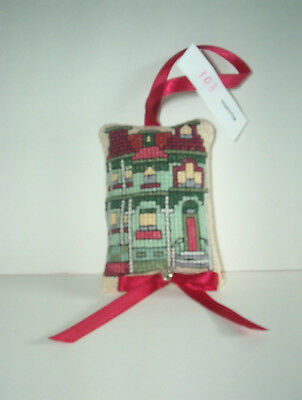 Finished Cross Stitch Christmas Ornament- Puffy House # 103