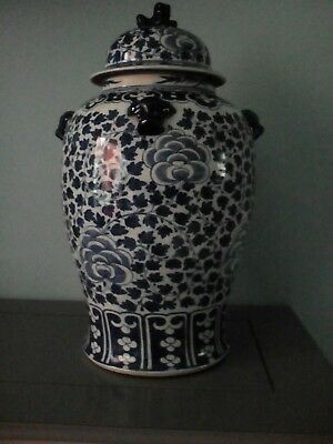 Large antique blue and white chinese lidded temple vase.