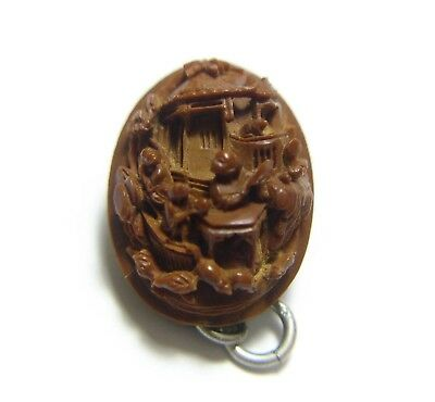 Stunning Antique 19Th C Chinese Very Finely Carved Peach Stone Nut Charm (B4)