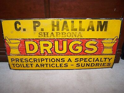 VINTAGE Embossed 1930s DRUG STORE TIN SIGN Walgreens Rexall General Ad Illinois
