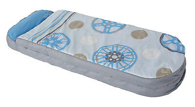 Portable inflatable ready bed with pump blue/circles pattern Excellent condition