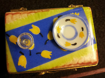 Limoges Trinket Box:  Picnic Hamper With Wine Glass & Plate On Top!!!
