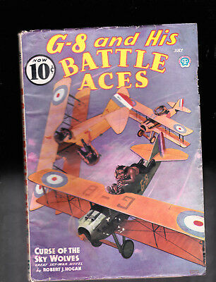 G-8 and His Battle Aces pulp July 1936 Nice paper Quality & Condition
