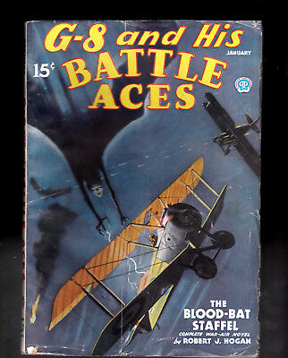 G-8 and His Battle Aces pulp Jan 1936 Nice paper Quality & Condition