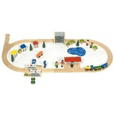 BigJigs Village Train Set BJT011 Preschool Toys Wooden Railway