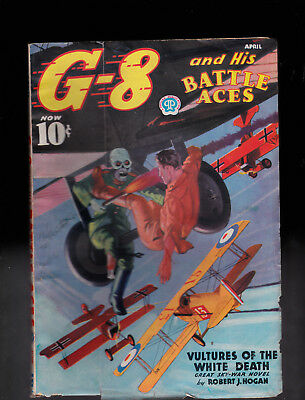 G-8 and His Battle Aces pulp  Apr 1937 Skull cover  Nice paper Quality & Cond.