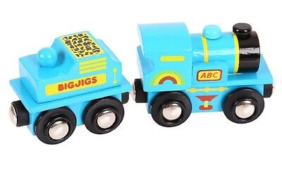 BigJigs Blue ABC Train Engine BJT411 Wooden Railway Preschool Toys