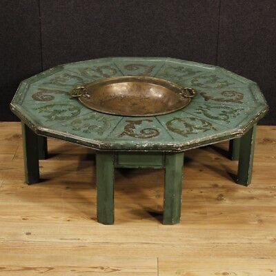 Table low living room furniture small lacquered wood painted antique style 900