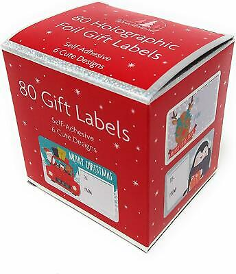 100 x Christmas Xmas Present Holographic Adhesive Gift Wrap Labels Name Tags