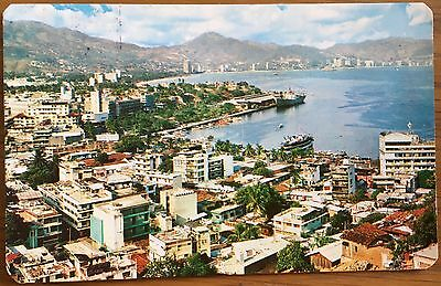 Old Postcard Acapulco Bay Panoramic View, Mexico