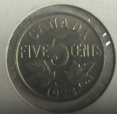 1922 Canada George V 5 Cent Piece (Five Cents Coin) - BU