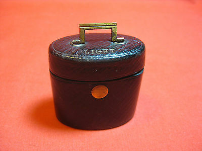 Antique Victorian Black Leather Travelling Match Striker Light