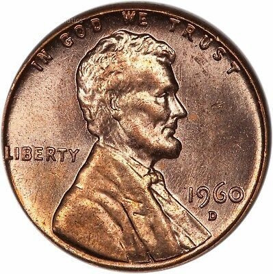 1960-D Large Date Lincoln Cent - BU - Brilliant Red Uncirculated (2868.q9056)