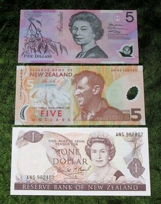 New Zealand 1 +  5 dollars banknotes Perfect UNC plus 5 Dollars Australia in XF+