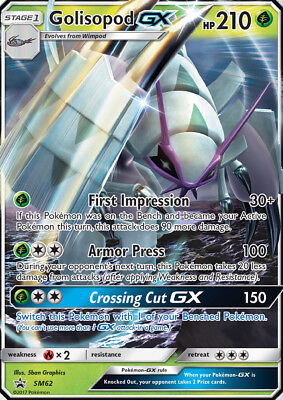 Golisopod GX -NM- SM62 Team Skull Collection Pokemon TCG Burning Shadows PROMO