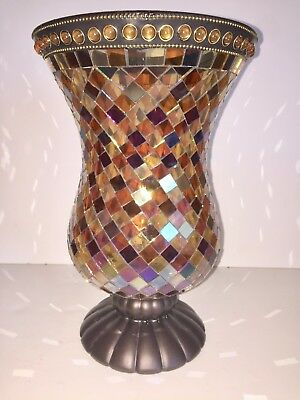 Partylite Party Lite Global Fusion Hurricane Mosaic Candle Holder / Vase P8366