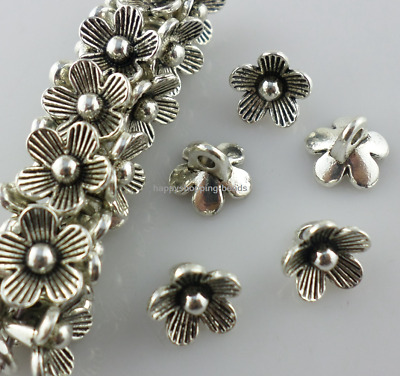 60/500pcs Tibetan Silver Flowers Charms Spacer Beads 9x7mm