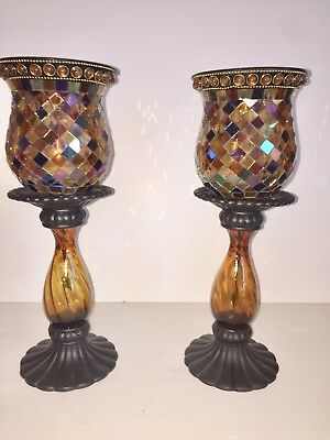 Partylite Global Fusion Mosaic Peglite & Stand Holder Set, Lot Of 2