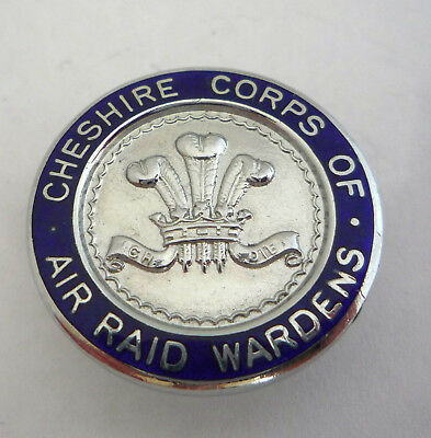 Ww2 Cheshire Corps Of Air Wardens Enamel Lapel Badge By Butt And Co