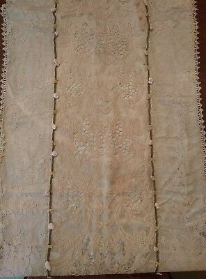 """Antique needle & net lace handmade large ornate runner 18"""" by 68"""" cupids & roses"""