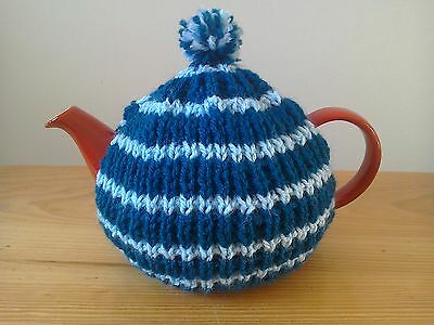 Hand knitted teapot cosy, small fits two cup teapot