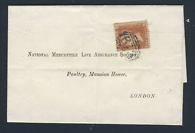 GB QV 1855 1d. Red Plate 2 MC SG 21 (Spec C4) ON WRAPPER PETERSFIELD to LONDON
