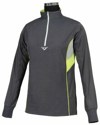 Tuffrider Neon Ventilated Mock Zip L/S Charcoal+Neon Yellow X Large Ch