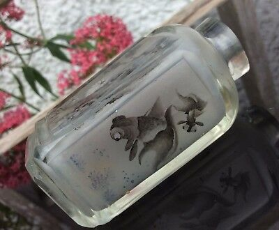 Chinese Antique Cut Glass Snuff Bottle Gold Fish Landscape Insect Painted Inside