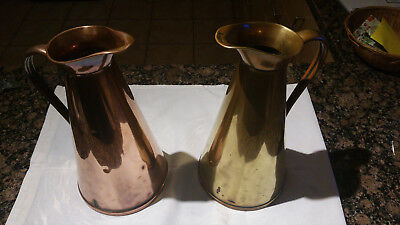 One vintage copper and one vintage brass jug in age appropriate condition