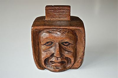 Beautiful Original Antique Hand Carved Wooden Mans Head Match Box Holder Mbh3