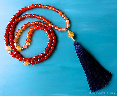 108 red agate carnelian mala necklace w/ opal gold beads and navy blue tassel