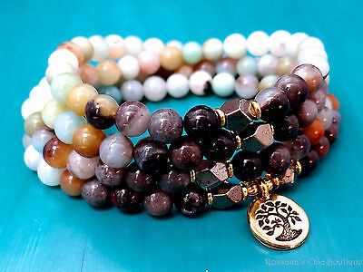 108 bead amazonite pyrite necklace wrap bracelet w/ gold plated tree of life