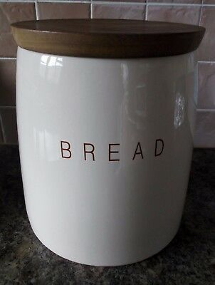Large Cream Bread Crock With Wooden Lid