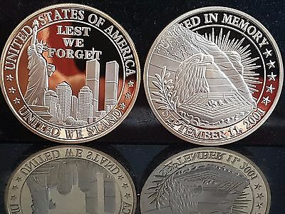 Gold Lest We forget United We Stand America 911 twin towers remembrance coin