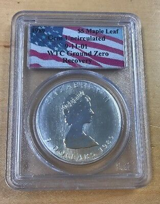 1989 $5 Canada silver maple leaf gem uncir 9/11 WTC ground zero recovery  (A21)