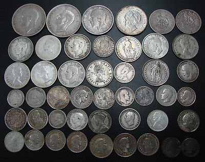 *nice Assorted Lot Of (46) Silver Foreign Coins - Some Nice Coins*