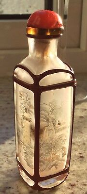 Chinese Antique Glass Snuff Bottle Red Cage Landscape Grasshopper Hand Painted I