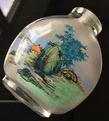 Chinese Vintage Glass Snuff Bottle Landscape Robin Bird Hand Painted Inside
