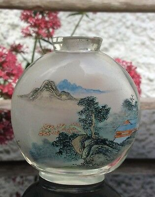 Chinese Antique Glass Snuff Bottle Landscape Bird Hand Painted Inside.