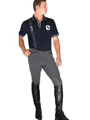 Goode Rider Mens Pro Knee Patch Breeches Charcoal-28R