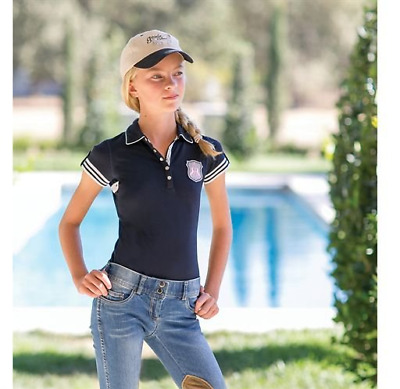 Goode Rider Girls' Authentic Polo (Navy, 12)
