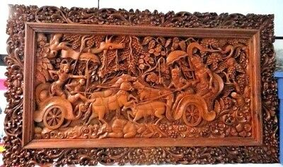 Magnificent Hand Carved Wood Wall Panel