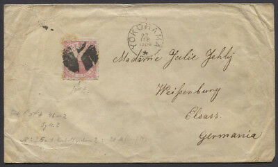 Japan 1884 Cover Sc #46 Syllabic 2 12c Goose to Elsace Germany MISSING 1 STAMP